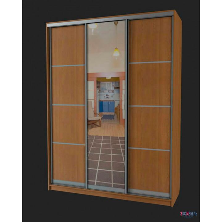 Шкаф-купе с алюминиевыми разделителями и зеркалом